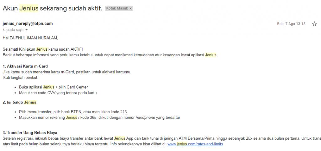 Email pemberitahuan akun Jenius sudah aktif, dari artikel Cara Mendaftar Jenius BTPN