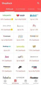 Marketplace di aplikasi Shopback