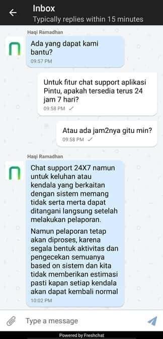 Fitur Chat Support Aplikasi Pintu