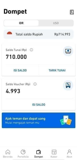 menu dompet Aplikasi Pluang