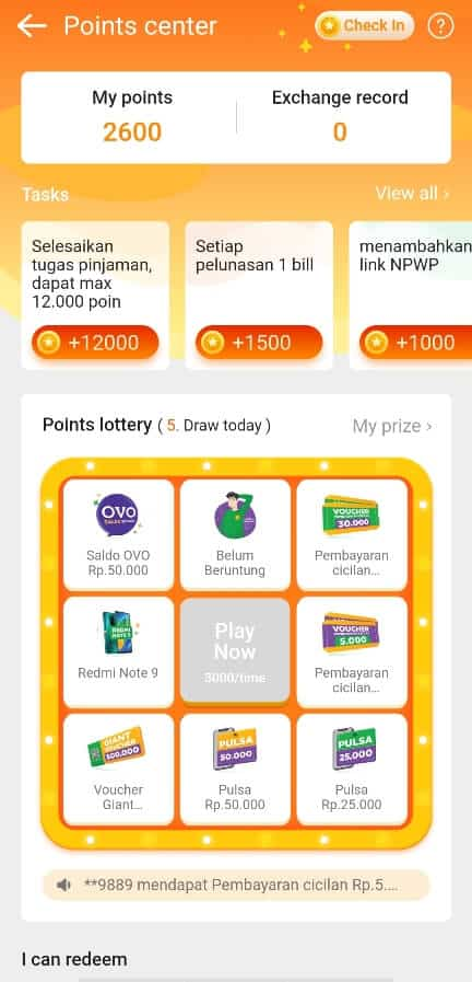 Fitur Points Lottery Kredit Pintar