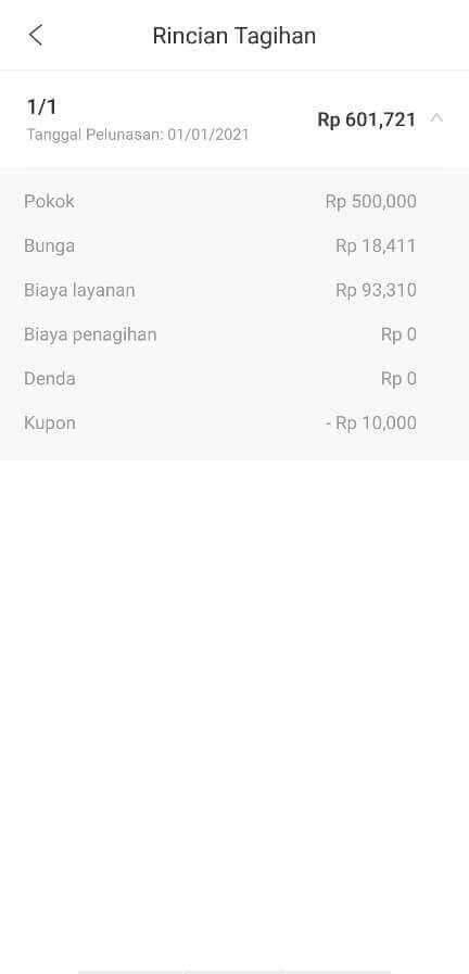 Rincian tagihan pinjaman online AdaKami