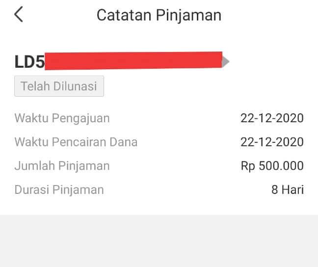 Riwayat pinjaman online di aplikasi UKU
