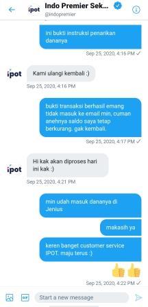 Customer Service IPOTFund via Twitter