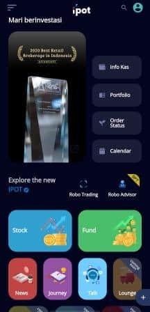Tampilan depan aplikasi IPOT