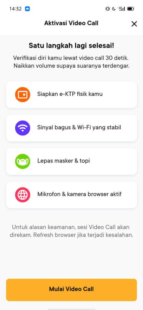 Tampilan video call daftar bank Jago
