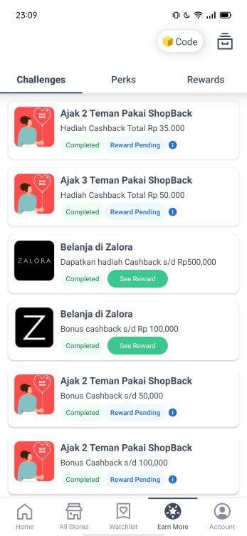 Fitur earn more aplikasi Shopback
