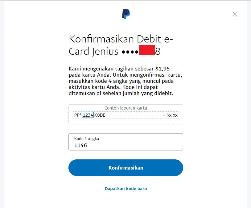 Step 12 - Cara verifikasi rekening Paypal dengan Jenius