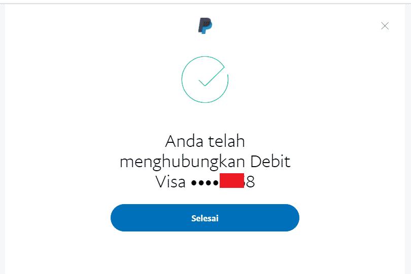 Cara verifikasi Paypal dengan kartu debit Jenius langkah 6