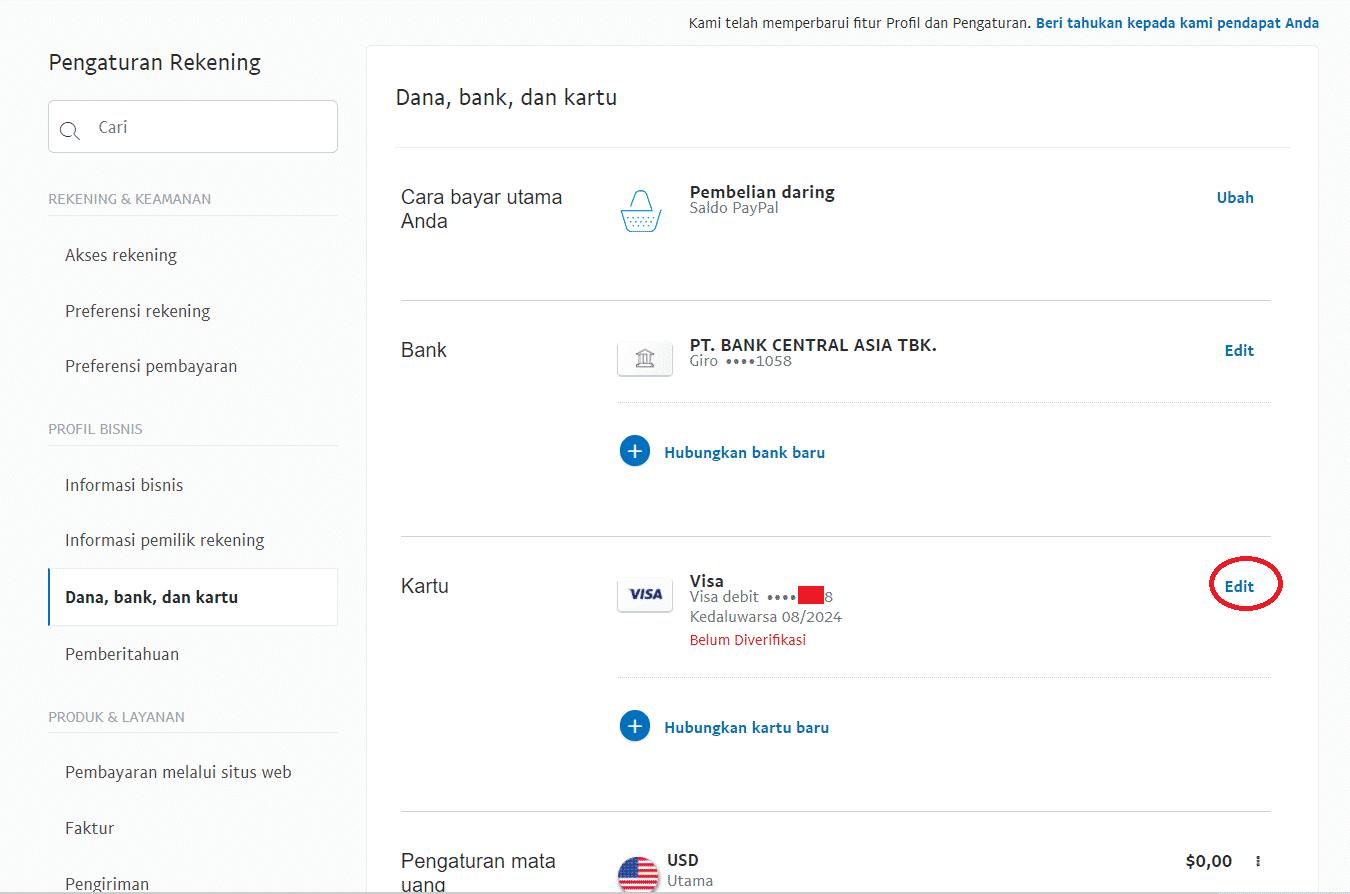 Cara verifikasi Paypal dengan e-Card Jenius langkah 7