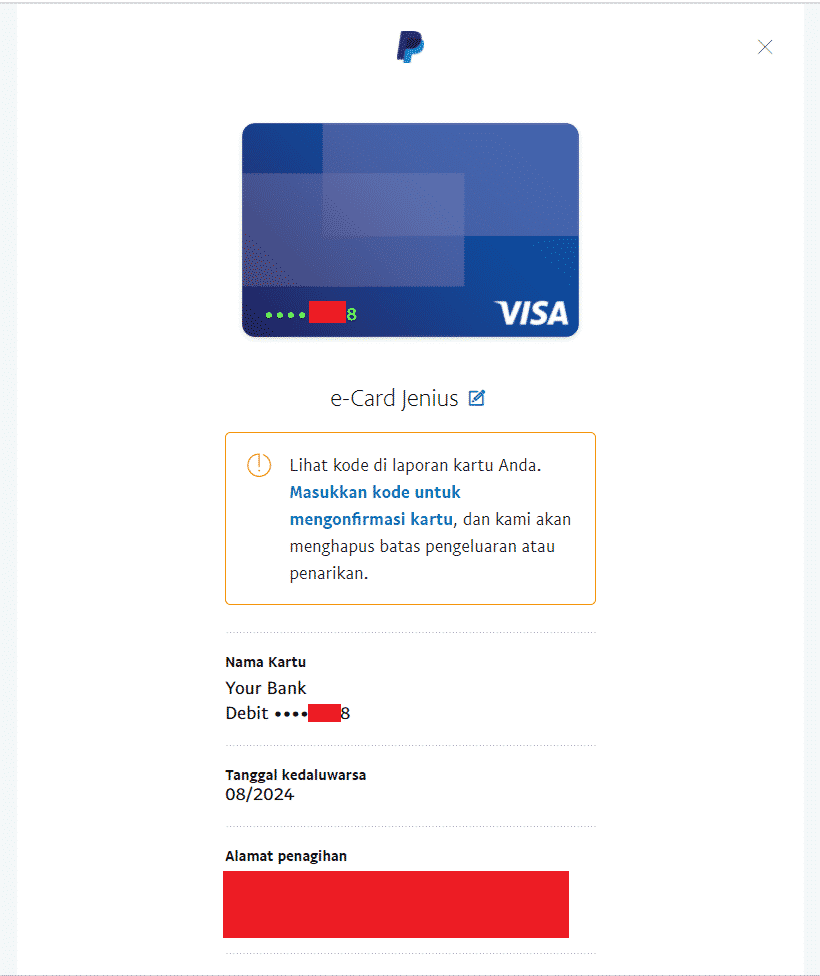 Langkah 10 cara verifikasi Paypal dengan rekening Jenius