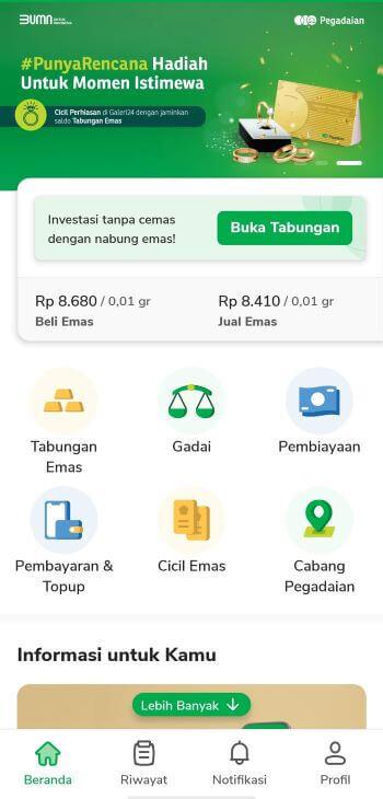 Beranda aplikasi Pegadaian Digital