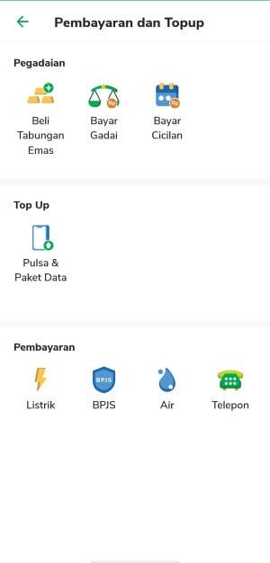 Fasilitas topup dan bayar tagihan di aplikasi Pegadaian Digital