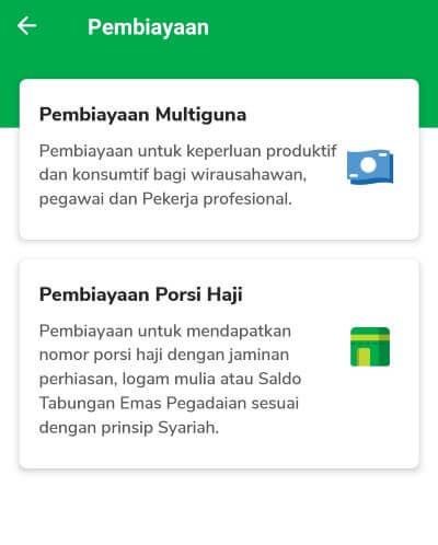 Layanan pembiayaan bunga rendah di aplikasi Pegadaian Digital
